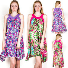 Halter Neck Cotton Casual Floral Dresses for Women