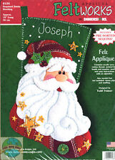 Felt Embroidery Kit ~ Dimensions Sequined Santa Claus Christmas Stocking #8124