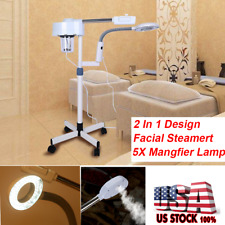 Pro 2 in 1 Facial Steamer 5X Magnifying Lamp Hot Ozone Spa Salon Beauty Machine
