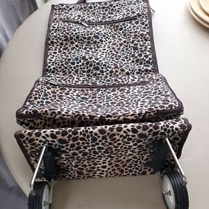 """Shopping Travel Tote On Wheels, Fold Up Travel Bag 23"""" Fold To 7"""" Leopard Design"""