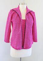 Andria Lieu Hot Pink Black Geometric Knit Shell Top & Cardigan Jacket Set Size S