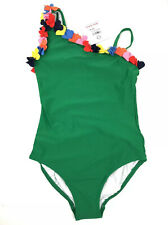 NWT Hanna Andersson Girls Swimsuit GREEN Size 6-7 / 120cm One Piece Floral - $42