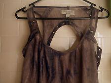 Just Jeans 6 Cutout Panel Back Gunmetal Hole Brown Dark Blue Sheer Lined Dress