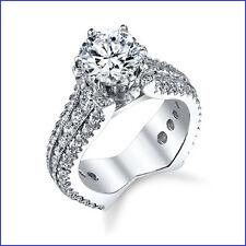 Large 1.92ct Diamond 18K White Gold. Euro Shank Flat Bottom Semi Mount Eng Ring