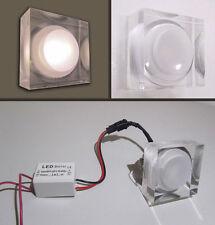 FARETTO QUADRATO FISSO DA INCASSO MINI SPOT LED PLEXIGLASS uso interno  da 1 W