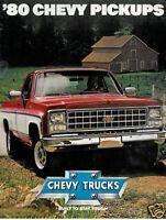 1980 Chevy Chevrolet Silverado C//K Pickups Color Brochure Catalog Prospekt