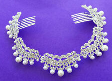 Diamante Hair Comb Slide with Faux Pearls in silver Circlet Crystals Rhinestones