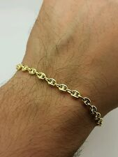 "14k Yellow Gold Puffed Mariner Anchor Bracelet Chain 7"" 4.7mm Women"