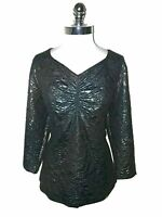 JACLYN SMITH Plus Size 1X Shirt Top Black Blue Shimmery Floral 3/4th Sleeve