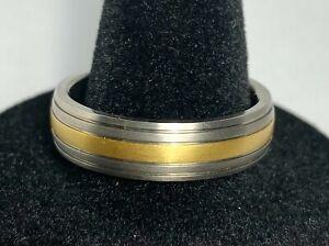 TITANIUM SILVER & GOLD TONE MEN'S WEDDING BAND RING~SIZE 11 ~ SHARP! NEW!