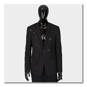 DIOR HOMME 4000$ Authentic New Black Wool Blazer With All Over Bee Embroideries