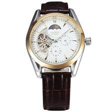 New Men Skeleton Automatic Mechanical Wrist Watch Leather Band Moon Phase Analog
