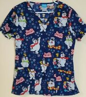 Frosty The Snowman Women's Size Small Navy Christmas Themed Scrub Top W/Pockets