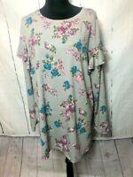 Lane Bryant Womens Blouse Size 18 20 Gray Pink Floral Tunic Long Sleeve Ruffle