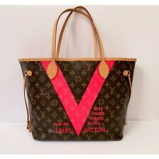 RARE😍Authentic Limited Edition LOUIS VUITTON Neverfull MM V Grenade Fuchsia Bag
