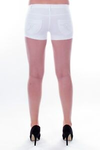 Women's Solid Color Ultra Stretch Fitted Low Rise Moleton Denim Booty Shorts