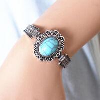 Women Lady Girl Bohemian Silver Oval Turquoise Cuff Bangle Charm Bracelet