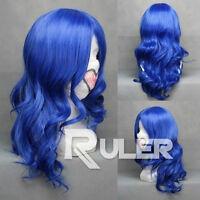 Mediumt Subspecies Dark Blue Curly Wavy Anime Cosplay Party Wig Hair