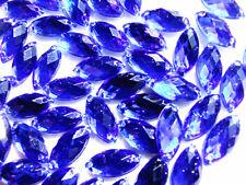 120 Blue Sapphire Marquise Bead Acrylic Gems 7x15 Mm Flatback 2 Holes to Sew on
