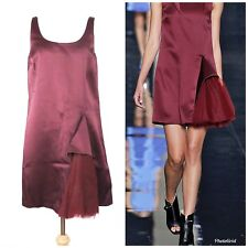 Christopher Kane Burgundy Maroon Tulles Godet Dress Sz US 6 Made in Italy $2265