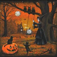 4X4 PRINT OF PAINTING RYTA HALLOWEEN WITCH LANDSCAPE BLACK CAT CLOCK STEAMPUNK