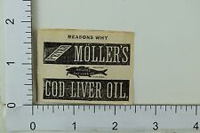 1870's  Victorian Print Ad Engraved Peter Moller's Cod Liver Oil Fish F61
