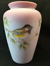 Fenton Art Glass Hand Painted Blue Burmese Song Bird Vase LIMITED