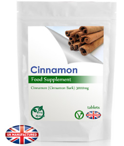 Cinnamon 3000mg - 30/60/90/120/180 Tablets - Blood Sugar Insulin Control, UK (V)
