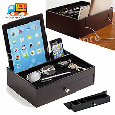 Mens Black Wooden Phone Tablet Charging Station Men's Dresser Valet Tray Jewelry