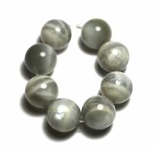 8 LARGE SHINY NATURAL White/Gray/Grey Moonstone Round Beads 14mm K3210