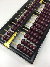 Old Vintage Chinese Wooden Abacus - 13 Columns - Black Frame & Maroon/Wine Beads