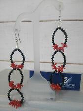 orecchini donna moda pendenti swarovski neri con corallo naturale e argento 925