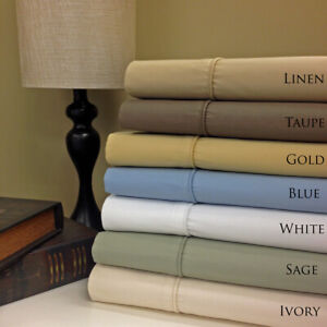 650 Thread Count Easy Care Cotton Blend Deep Pocket Solid Sheet Sets