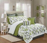4PC King Size Sage Green Grey White Vine Allen Comforter Set Bed-in-a-Bag