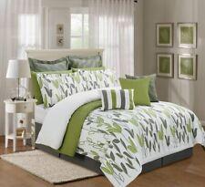 4Pc Queen Size Sage Green Grey White Vine Allen Comforter Set Bed-in-a-Bag