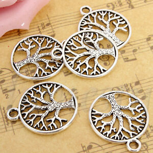 10/20/50X Vintage Tibetan Silver Tree of Life Circle Charms DIY Pendants Jewelry