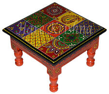 """Indian Square Wooden Side Table Painted Step Stool Table Chowki Bajot (Multi) 9"""""""