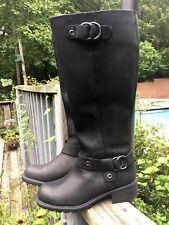 CLARKS Women 6 M Black Leather Buckles Knee-High Zip Block Heel Low Riding Boots