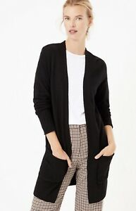 M&S Ribbed Edge to Edge Cardigan with Wool Small Navy Rrp £29.50