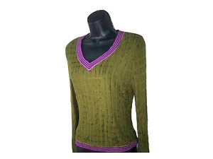 Missoni for Target Womens L Pointelle Green V Neck Sweater Purple Trim