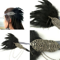 Vintage Black Feather Grey Silver Headpiece 1920s Headband Flapper Great Gatsby