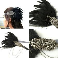 Bandeau de plumes noir vintage années 1920 bandeau Flapper Great Gatsby Déguisem