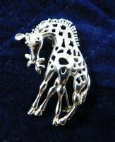 "Vintage Solid Sterling Silver Giraffe Open Work Broach / Pin 1 1/2"" Tall"