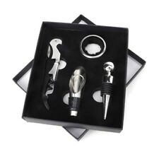 4 Piece Wine Tool Set Bottle Opener Cork Stopper Gift Box Corkscrew Accessories