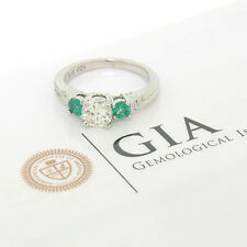 GIA H SI2 Platinum 1.15ctw Classic 3Stone Round Brilliant Diamond & Emerald Ring