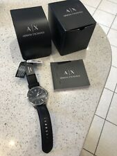 Armani Exchange AX2182 Men's Watch with Stainless Steel Dial Black Leather Strap