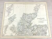 1861 Antique Map of Northern Scotland Hand Coloured Engraving Keith Johnston