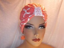 "Chemo Turban Hijab Tichel Hat Quatrefoil Coral White ""Something4you"" Alopecia"