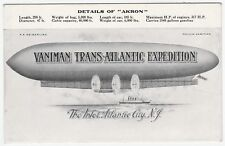 RARE Postcard - Melvin Vaniman Trans-Atlantic Expedition AKRON Dirigible 1911