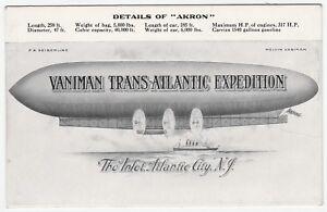 RARE Postcard - Melvin Vaniman Trans-Atlantic Expedition AKRON Dirigible 1911